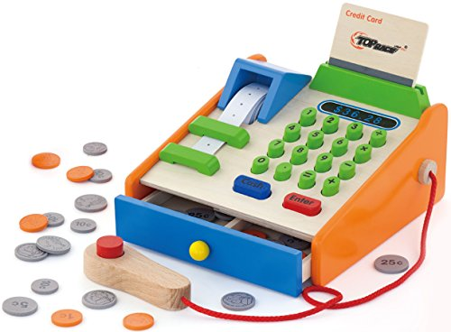 Top Race® 30 Piece Wooden Cash Register, Solid Wood Cash Register with US Coins, Scanner, and Credit Card, Grocery Role Play Set (Count And Play Cash Register compare prices)