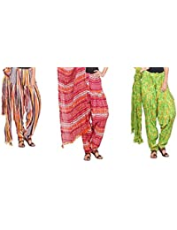 Rama Set Of 3 Printed Multicolor Cotton Full Patiala With Dupatta Set - B01N9MQUFV