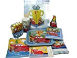 Disney Cars 1st Birthday Party Supplies Pack Includes Plates, Cups, Napkins, Table Cover, Centerpiece, Invitations, Birthday Banner, Hats, and Blowers for 8 Guests