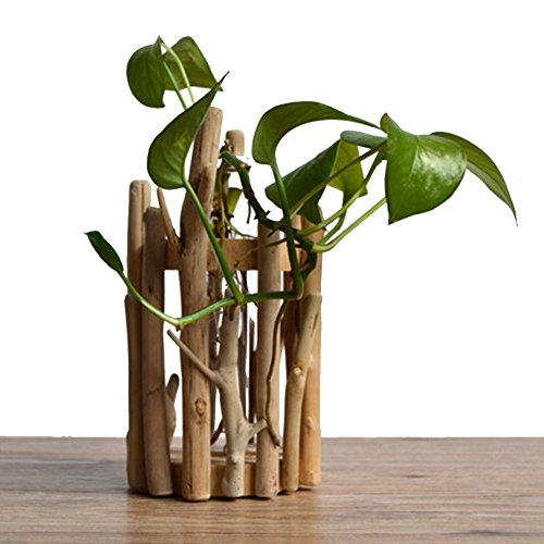 WOOD MEETS COLOR Wood Vase Handmade Flowerpot Table Vase Tube Flower Arrangement Home Decoration