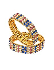 Xcite Daily Wear, Party Wear Multi-Colour Gold-plated Bangle Set For Girls