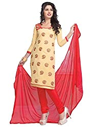 Vibes Womens Cotton Patch Work Straight Dress Material (V246-5010 _Yellow _Free Size)