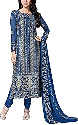 Go Traditional Women's Georgette Unstitched Dress Material (Blue)