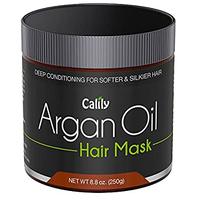 Calily Premium Natural Argan Oil Hair Mask, 8.8 Oz. - Deep Conditioner - Repairs Damaged Hair, Hydrates, Softens, Strengthens, Shines and Nourishes - Promotes Healing and Natural Hair Growth