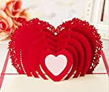 Omall (TM) 10x15cm Heart-shaped 3D Pop-up Greeting Card By Chinese Paper-Cut Art Greeting card for Valentine's Day Wedding