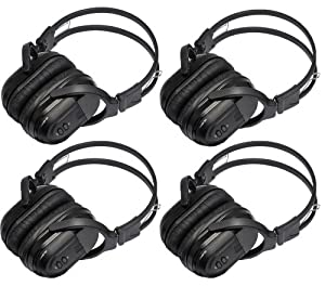 4 Pack of Folding Universal Rear Entertainment System Infrared Headphones Wireless IR DVD Player Head Phones for in Car TV Video Audio Listening 2 Channel by YKR