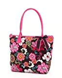 Belvah Quilted Floral Medium Tote Handbag - Choice of Colors (Brown/Fuchsia)
