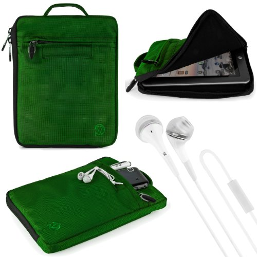 "(Green) Vg Hydei Edition Nylon Sleeve Bag Case For Aluratek At208F Cinepad 8"" Android Tablet + White Vg Brand Stereo Headphones With Windscreen Microphone & Silicone In Ear Tips"