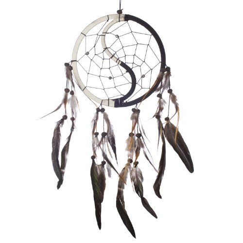 "Dream Catcher ~ Handmade Traditional Yin Yang 6.5"" Diameter x 16"" Long"