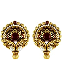 Gehnamart Yellow Gold Plated Pearl And Red Imitation Onyx Designer Stud Earring
