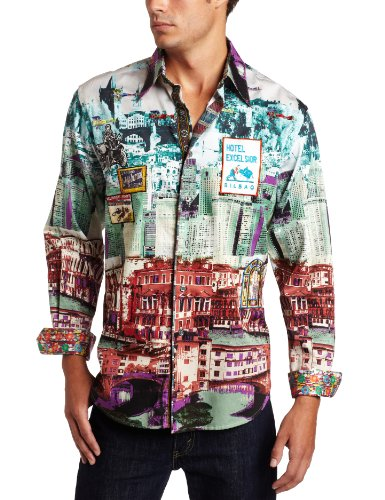 Robert Graham Men's Vista Long Sleeve Knit, Multi, Medium