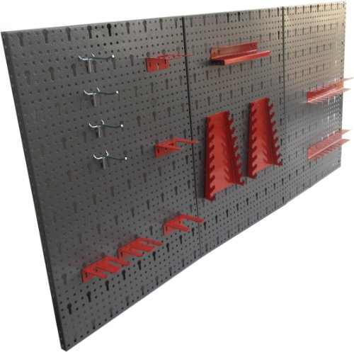 Dreiteilige-Werkzeuglochwand-aus-Metall-mit-14tlg-Hakenset-ca-120-x-60-x-1-cm