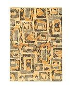 Design Community By Loomier Alfombra Ikat A (Gris/Naranja)