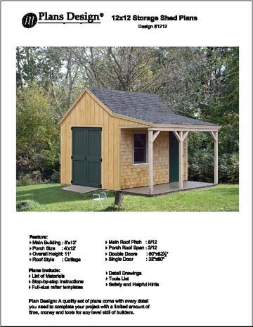 12' X 12' Cottage Shed with Porch Project Plans -Design #81212