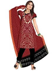 Kalasanskruti Black and Maroon Cotton Salwar Suit Set