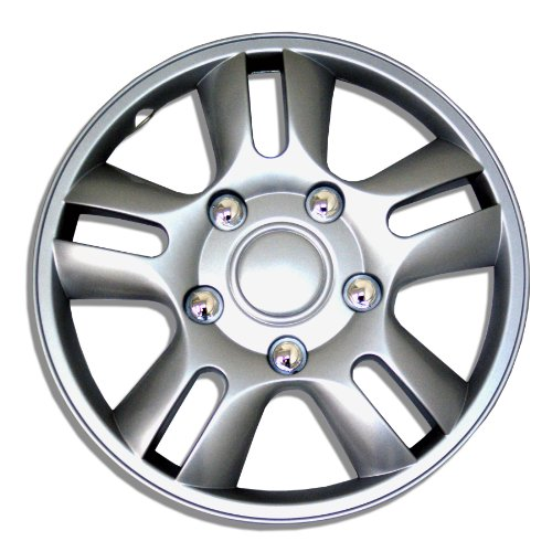 TuningPros WSC-006S15 Hubcaps Wheel Skin Cover 15-Inches Silver Set of 4 (2010 Honda Fit Hubcap compare prices)