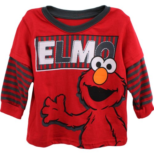 "Sesame Street Elmo ""Two Tone"" Red/Grey Layered T-Shirt 3T-5T"