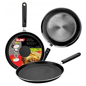 small crepe pan pancake pans low shallow sides induction 23cm diameter. Black Bedroom Furniture Sets. Home Design Ideas