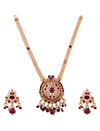 Ganapathy Gems Gold Plated Necklace Set With Ruby Red Stones And Pearl Drops