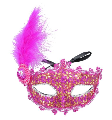 Simplicity Lace Venetian Masquerade Mask with Rhinestone & Flower, 2988_Rose