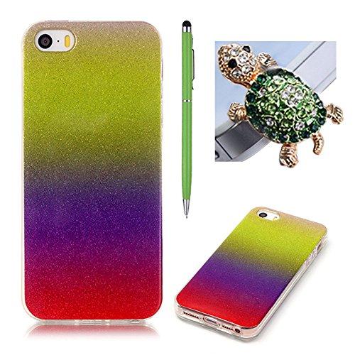 Coque Apple iPhone 5/5S/SE - SKYXD Brilliant Bling Glitter Sparkle Shiny Paillette Ultra Mince Housse Etui Premium Gel Silicone TPU Souple Caoutchouc
