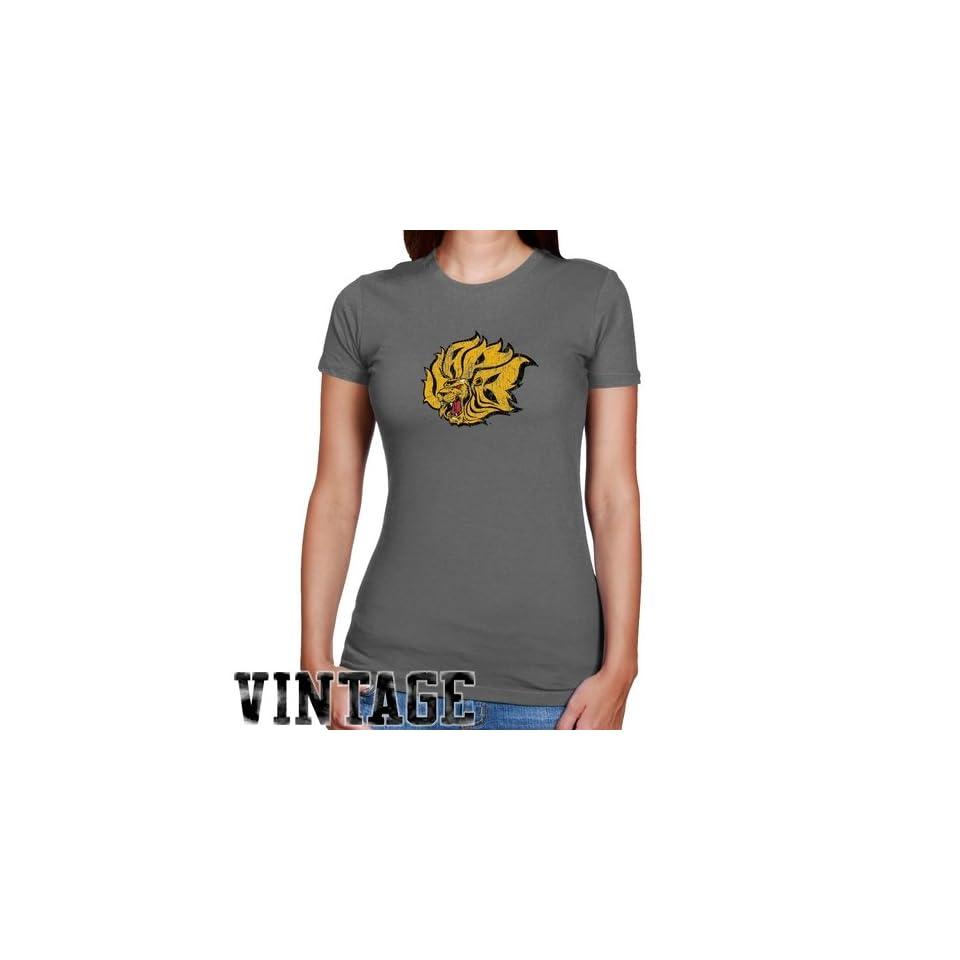 NCAA Arkansas Pine Bluff Golden Lions Ladies Charcoal Distressed Logo Vintage Slim Fit T shirt