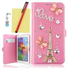 buy Ancerson 3D Handmade Bling Crystal Diamond Rhinestones Pink Butterfly Golden Eiffel Tower Silvery Love Flowers Decorate Magnetic Buckle Pu Leather Protective Case Cover Sleeve Shell Skin With Credit/ Id Card Slot Wallet Slip Stand Holder For Samsung Galax