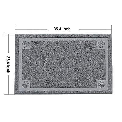 Litter Catcher Mat, PYRUS 35.4 x 23.6 Inches Cat Litter Mat PVC Pet Box Mats Feeding Mat for Kitty Dog