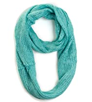 Plum Feathers Sequin Specked Open Knit Infinity Circle Ring Scarf (Aqua)