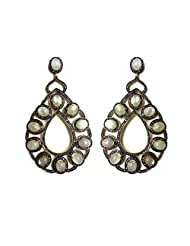 AN Designs Sterling Silver With Gold Plated Earring For Women - B00MTF6FBW