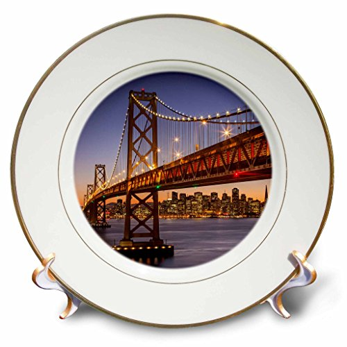 3dRose cp_206706_1 Oakland Bay Bridge & San Francisco Skyline, California, Usa. Porcelain Plate, 8