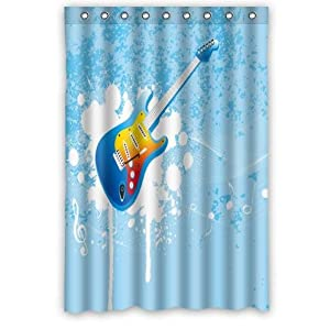 Home Fashion Decor High Quality Polyester Fabric Shower Curtains With Blue Guitar