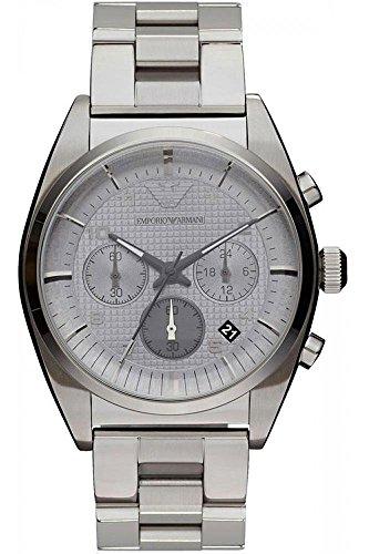 Emporio Armani AR0375 - Reloj cronógrafo de cuarzo para hombre, correa de acero inoxidable chapado color plateado (cronómetro)
