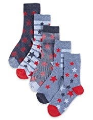 5 Pairs of Cotton Rich Star & Striped Socks