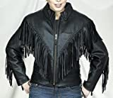 Women's Leather Motorcycle Jacket with Braid & Fringes by NYC Leather Factory Outlet