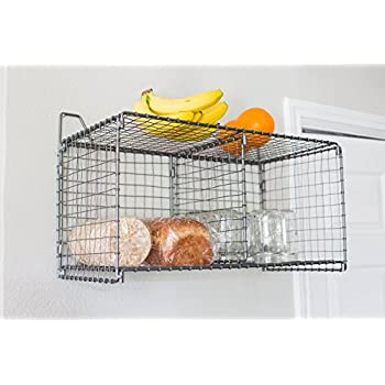 BirdRock Home Folding Wire Floating Shelves | Wall-Mounted Baskets | Metal Storage Rack | Industrial Design | Hanging Bin | Divided Compartment