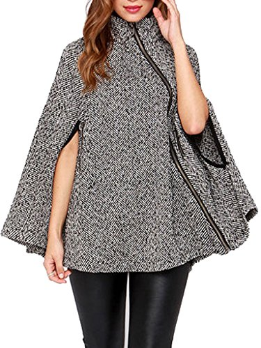 Clothink Women Gray Stand Collar Asymmetric Zipper Front Cape Coat, Gray, XX-Large