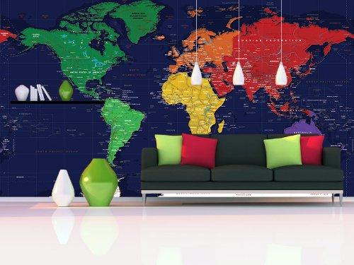 World Map Wall Mural - Dark Oceans - 3 panel - 125