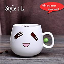 New 320ml Creative Cute Expression Ceramic Mugs Water Container Cups And Mugs Porcelain Tea Cup Coffee Mug Wholesale Style L