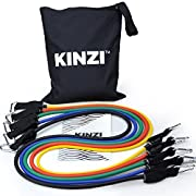 Kinzi Resistance Band Set with Door Anchor, Ankle Strap, Exercise Chart & Resistance Band Carrying Case