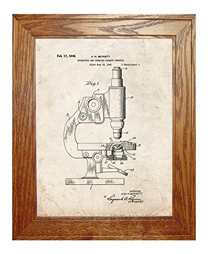 "Microscope And Counting Chamber Patent Art Old Look Print In A Honey Red Oak Wood Frame (11"" X 14"")"