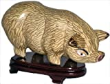 Chinese cloisonne boar pig with stand - Beige