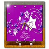 dc_47055_1 Taiche - New Year - Stars - Happy New Year - stars - ice - snow - christmas - greetings - shooting star - - Desk Clocks - 6x6 Desk Clock