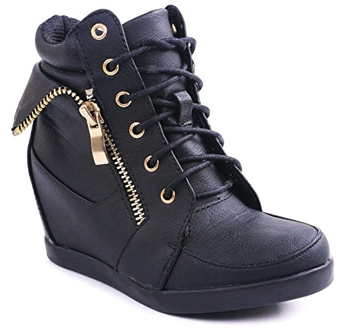 Jjf Shoes Peter Kids Black Fashion Leatherette Lace-Up High Top Wedge Sneaker Bootie-9