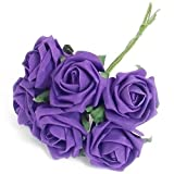 3 BUNCHES of 6 CADBURY PURPLE FOAM ROSES - 18 INDIVIDUAL FLOWERS IN TOTAL 6.5CM HEADS