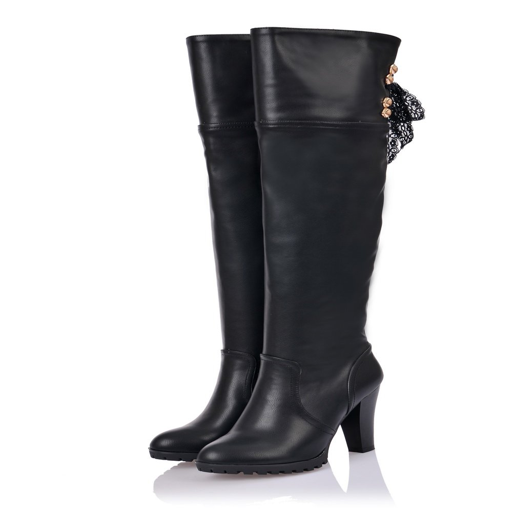 QueenFashion Women's Sexy Style Chunky Heels High Boots with Lace and Metalornament