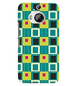 Printvisa Multicolour Square Patterns Back Case Cover for HTC One M9+::HTC One M9 Plus