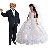 E Ting Beautiful Wedding Dress Party Ballgown Clothes + Formal Suit Outfit For Barbie Ken Doll