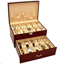 Hot Sale 20 Watch Display Case Cherrywood Color Storage Box New