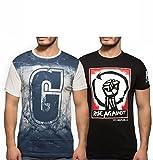 Yo Republic Mens Cotton Tshirt Combo Offer (Pack of 2)(AT-0078-XXL_White_Black_XX-Large)